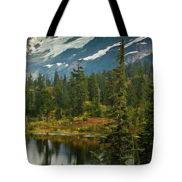 Picture Lake Vista Tote Bag by Mike Reid