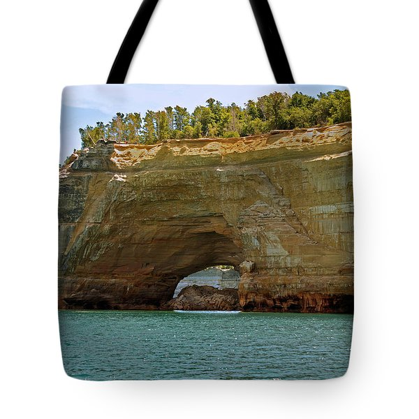 Pictured Rocks Arch Tote Bag by Michael Peychich
