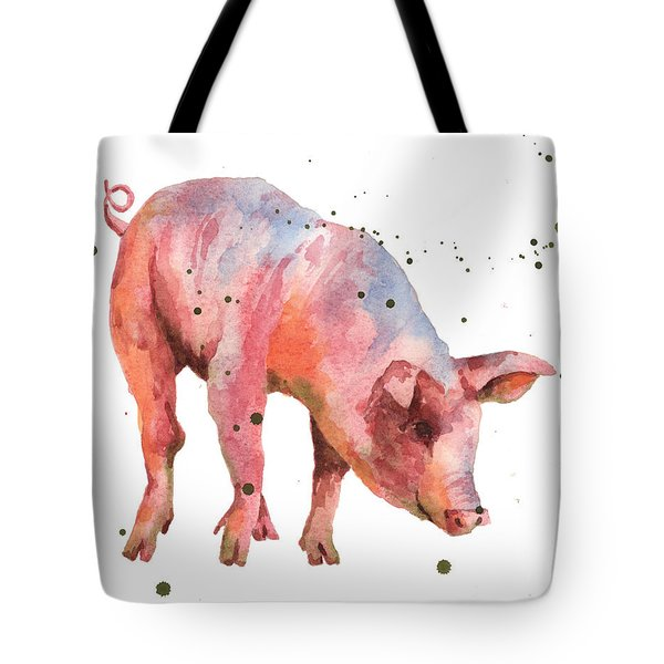 Pig Painting Tote Bag by Alison Fennell