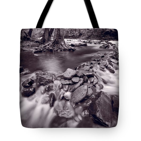 Pigeon Forge River Great Smoky Mountains Bw Tote Bag by Steve Gadomski