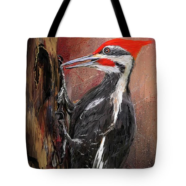 Pileated Woodpecker Art Tote Bag by Lourry Legarde