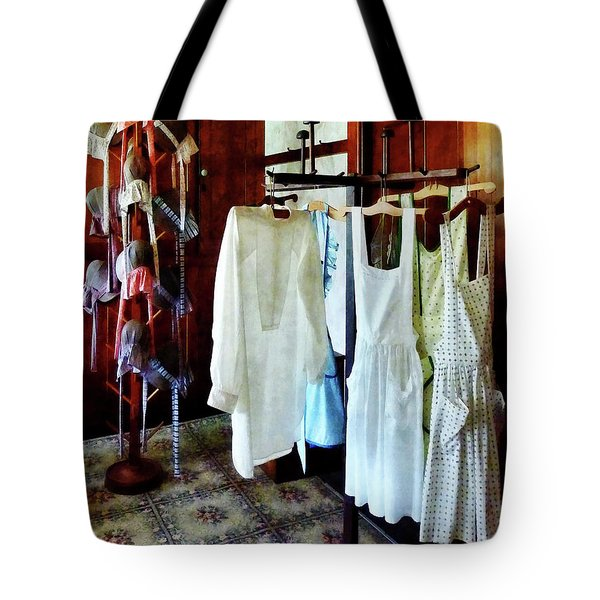 Pinafores And Bonnets In General Store Tote Bag by Susan Savad