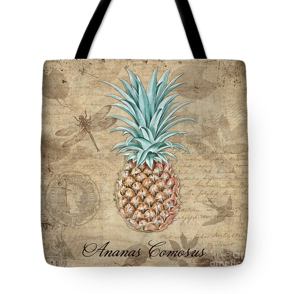 Pineapple, Ananas Comosus Vintage Botanicals Collection Tote Bag by Tina Lavoie