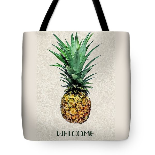 Pineapple Express On Mottled Parchment Welcome Tote Bag by Elaine Plesser