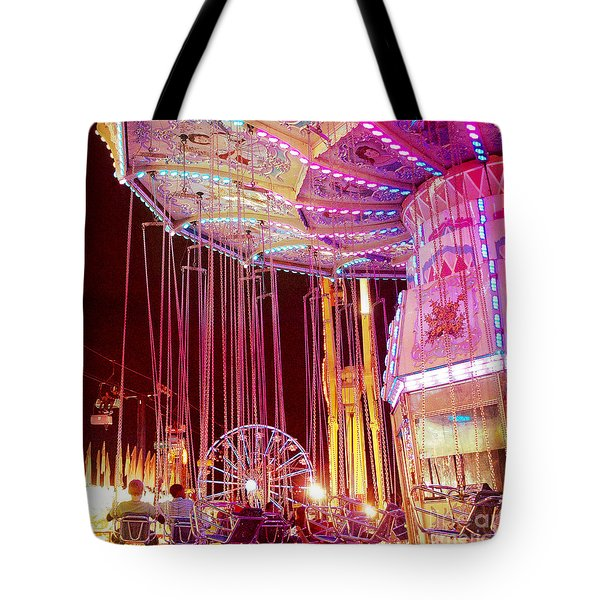 Pink Carnival Festival Ferris Wheel Night Ride Tote Bag by Kathy Fornal