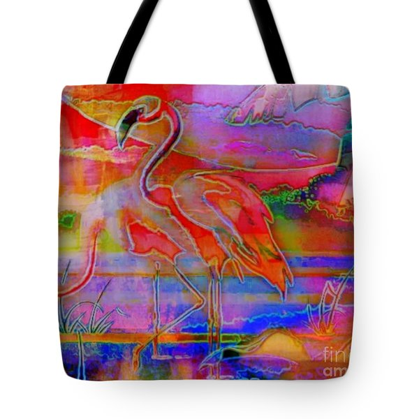 Pink Flamingos Tote Bag by WBK