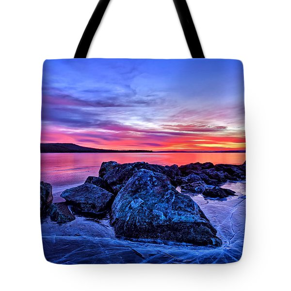 Pink Ice at Dawn Tote Bag by Bill Caldwell -        ABeautifulSky Photography