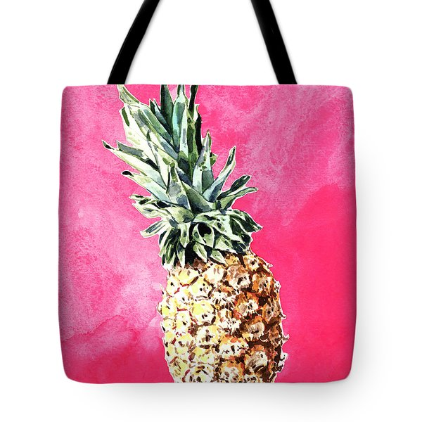 Pink Pineapple Bright Fruit Still Life Healthy Living Yoga Inspiration Tropical Island Kawaii Cute Tote Bag by Laura Row
