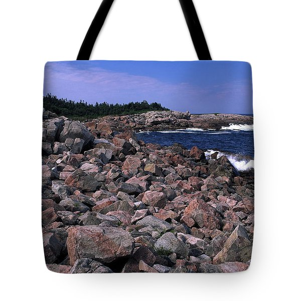 Pink Rock Shoreline Tote Bag by Sally Weigand