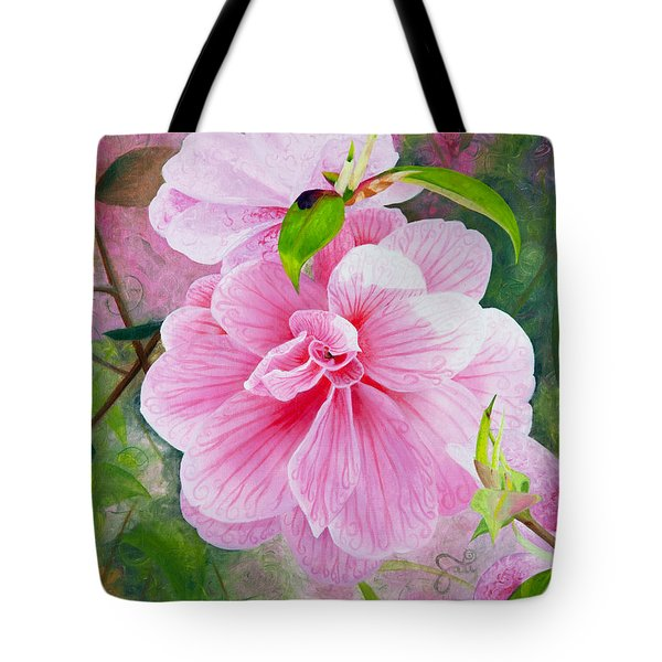 Pink Swirl Garden Tote Bag by Shelley Irish