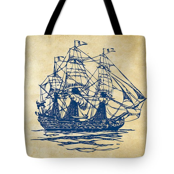 Pirate Ship Artwork - Vintage Tote Bag by Nikki Marie Smith