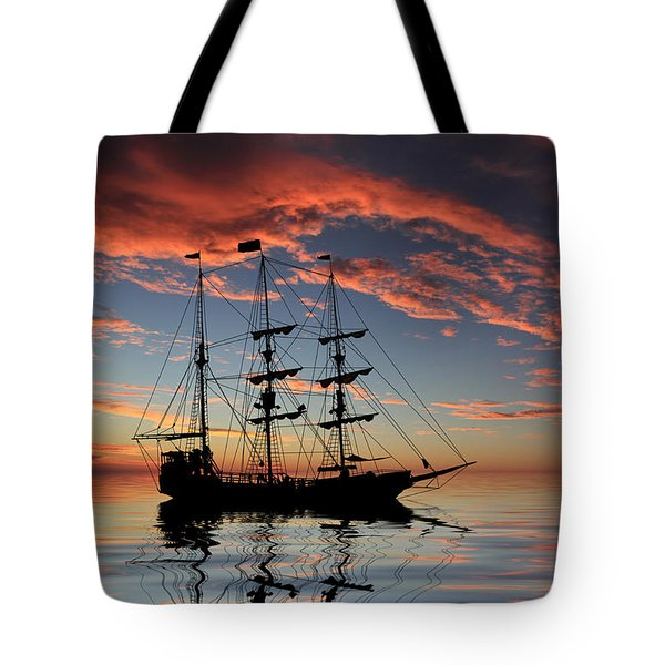 Pirate Ship At Sunset Tote Bag by Shane Bechler