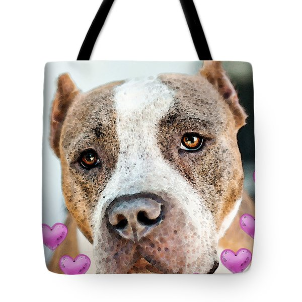 Pit Bull Dog - Pure Love Tote Bag by Sharon Cummings