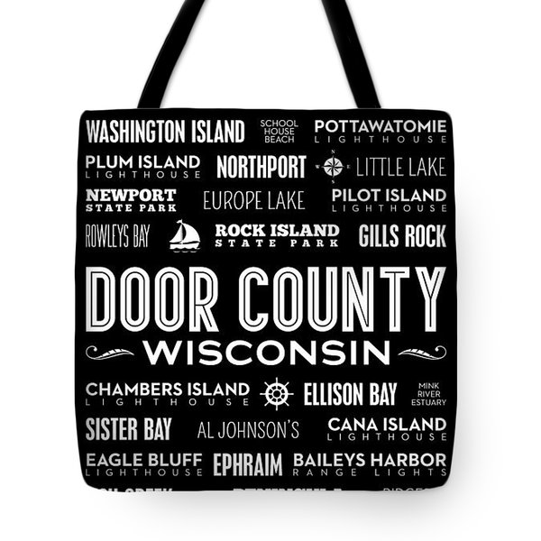 Places Of Door County On Black Tote Bag by Christopher Arndt