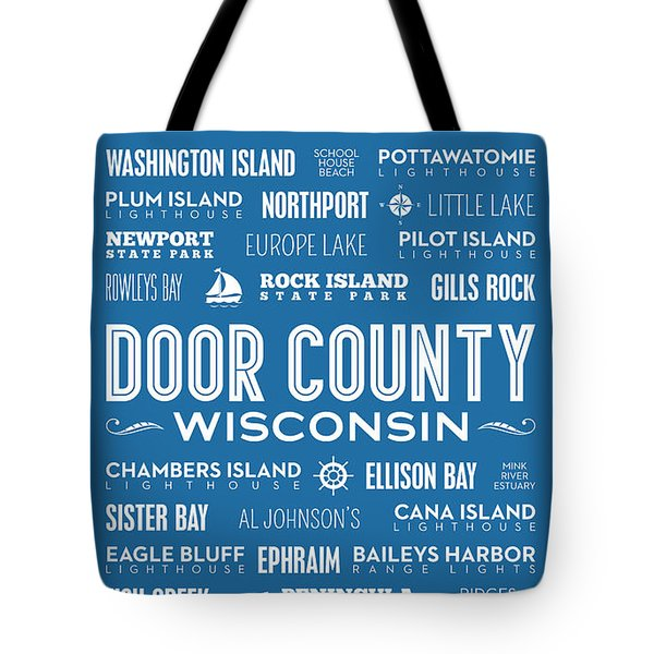 Places Of Door County On Blue Tote Bag by Christopher Arndt
