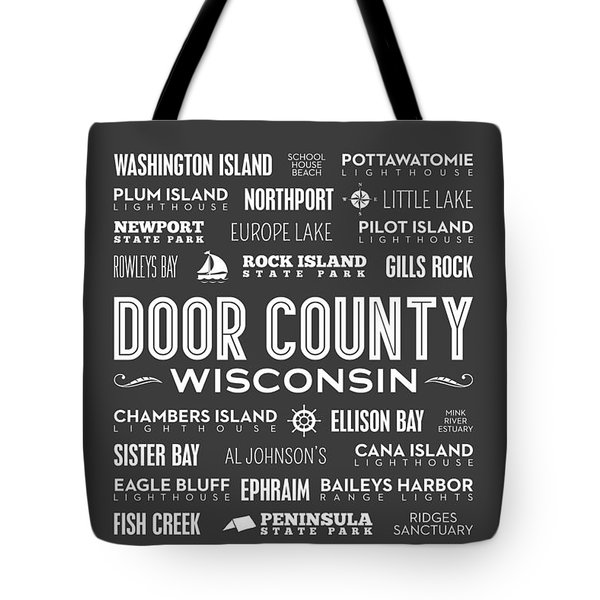 Places Of Door County On Gray Tote Bag by Christopher Arndt