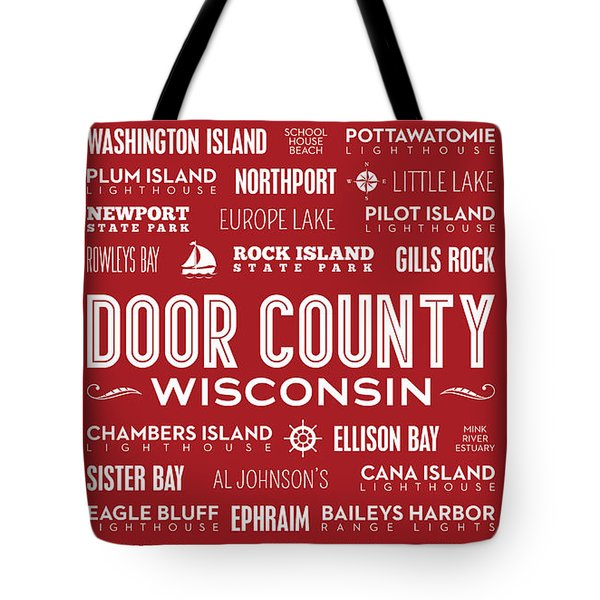 Places Of Door County On Red Tote Bag by Christopher Arndt