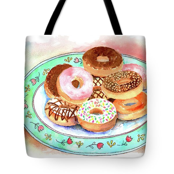 Plate Of Donuts Tote Bag by Arline Wagner