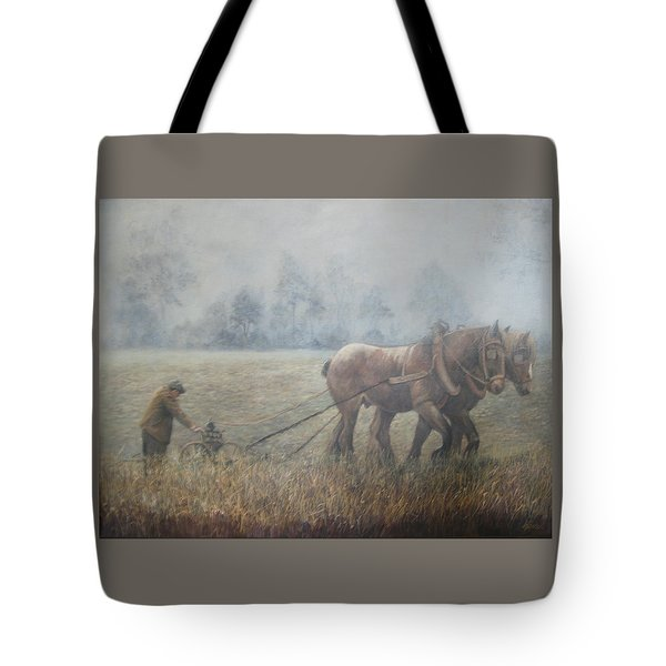 Plowing It The Old Way Tote Bag by Donna Tucker