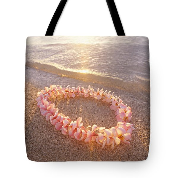 Plumeria Lei Shoreline Tote Bag by Mary Van de Ven - Printscapes