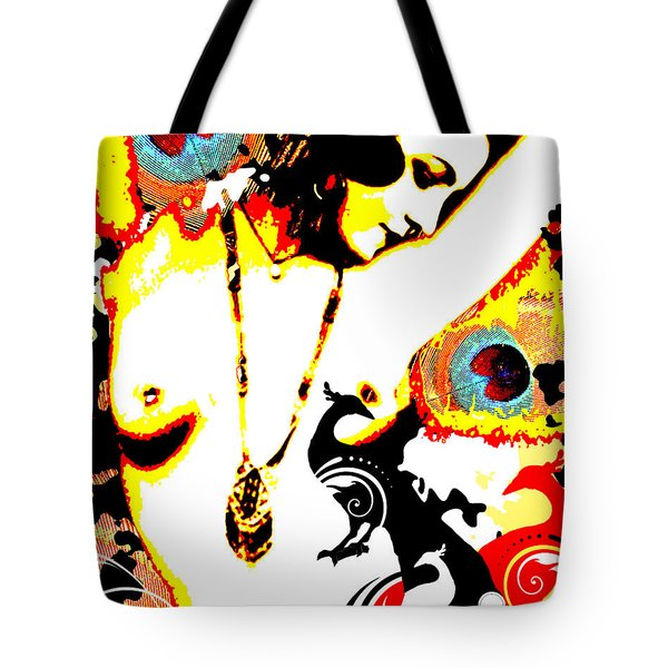 Poetic Peacock Tote Bag by Chris Andruskiewicz