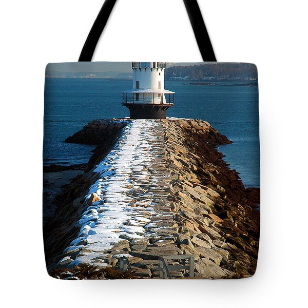 Point Spring Ledge Light - Lighthouse Seascape Landscape Rocky Coast Maine Tote Bag by Jon Holiday