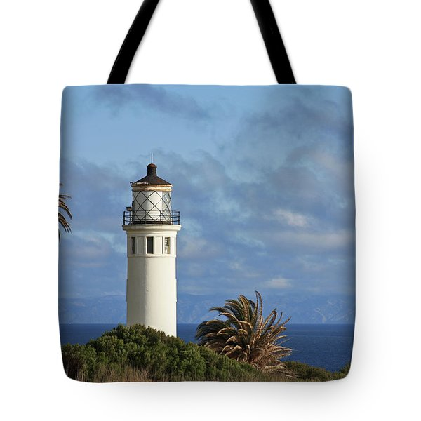 Point Vicente Lighthouse on the cliffs of Palos Verdes California Tote Bag by Christine Till