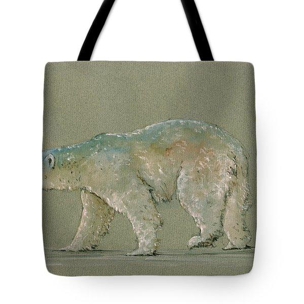 Polar Bear Original Watercolor Painting Art Tote Bag by Juan  Bosco