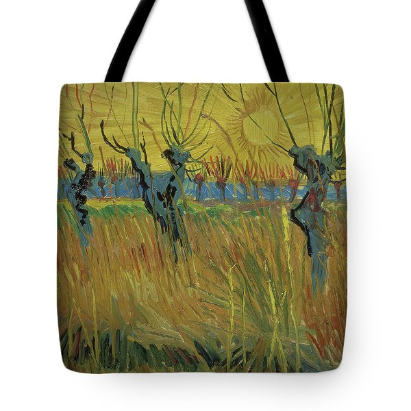 Pollarded Willows And Setting Sun Tote Bag by Vincent Van Gogh