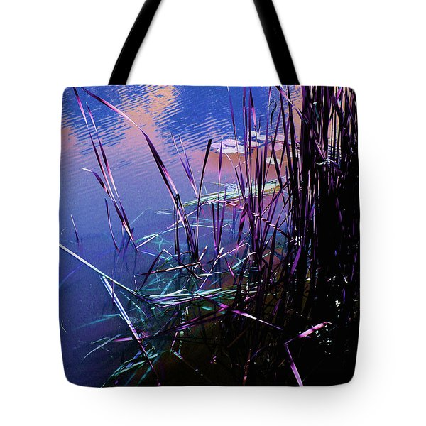 Pond Reeds at Sunset Tote Bag by Joanne Smoley