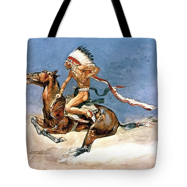 Pony War Dance Tote Bag by Frederic Remington