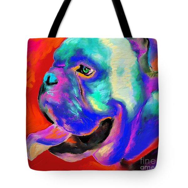 Pop Art English Bulldog Painting Prints Tote Bag by Svetlana Novikova