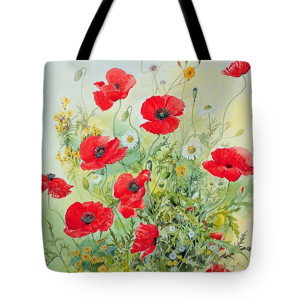 Poppies And Mayweed Tote Bag by John Gubbins