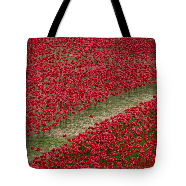 Poppies Of Remembrance Tote Bag by Martin Newman