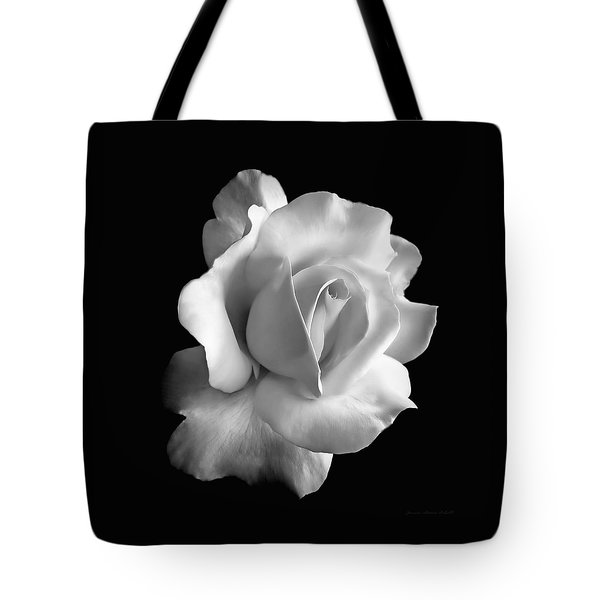 Porcelain Rose Flower Black And White Tote Bag by Jennie Marie Schell