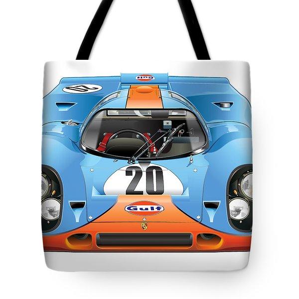 Porsche 917 Gulf On White Tote Bag by Alain Jamar