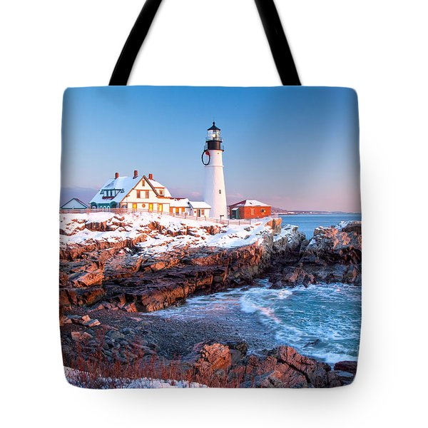 Portland Head Greets The Sun Tote Bag by Susan Cole Kelly
