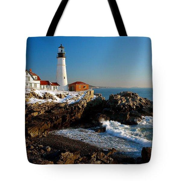 Portland Head Light - Lighthouse Seascape Landscape Rocky Coast Maine Tote Bag by Jon Holiday