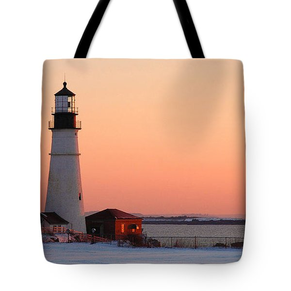 Portland Head Light At Dawn - Lighthouse Seascape Landscape Rocky Coast Maine Tote Bag by Jon Holiday