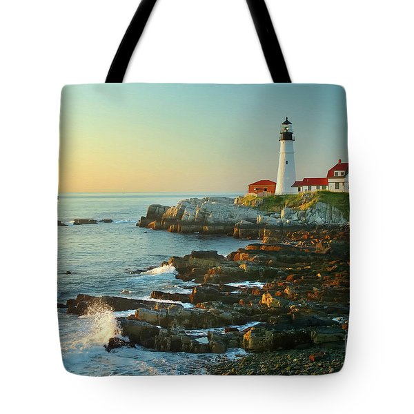 Portland Head Light No. 2  Tote Bag by Jon Holiday
