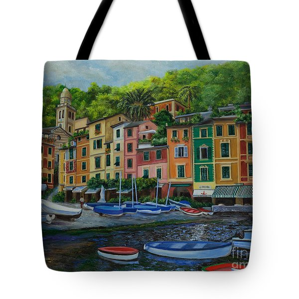 Portofino Harbor Tote Bag by Charlotte Blanchard