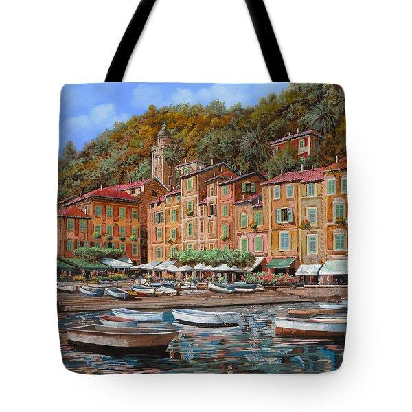 Portofino-La Piazzetta e le barche Tote Bag by Guido Borelli