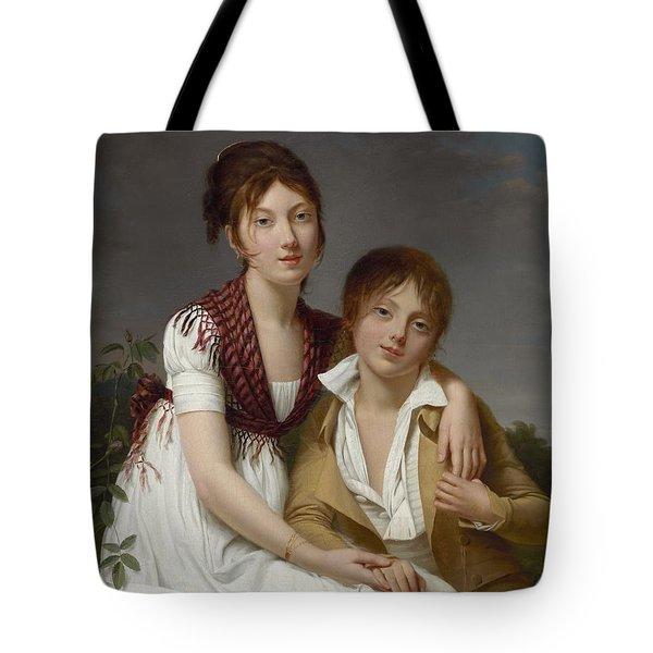 Portrait D'amelie-justine Et De Charles-edouard Pontois Tote Bag by Celestial Images