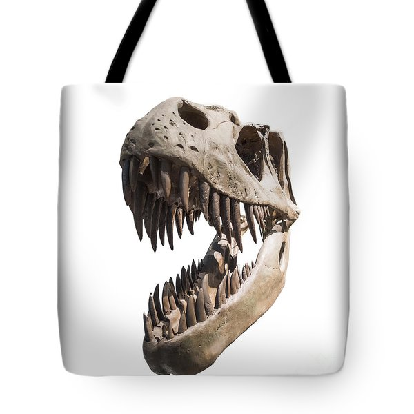 Portrait Of A Dinosaur Skeleton, Isolated On Pure White. Tote Bag by Caio Caldas