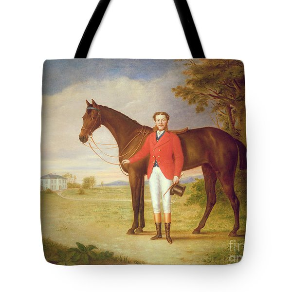 Portrait Of A Gentleman With His Horse Tote Bag by English School