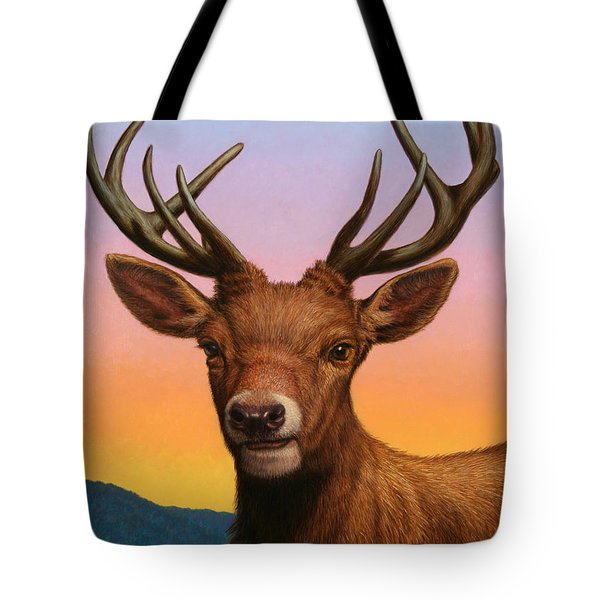 Portrait Of A Red Deer Tote Bag by James W Johnson