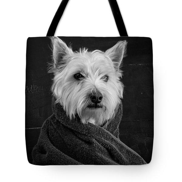 Portrait Of A Westie Dog Tote Bag by Edward Fielding