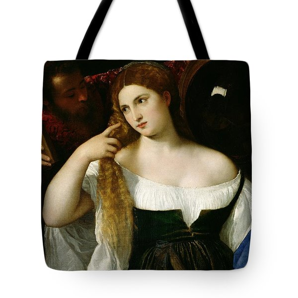 Portrait Of A Woman At Her Toilet Tote Bag by Titian