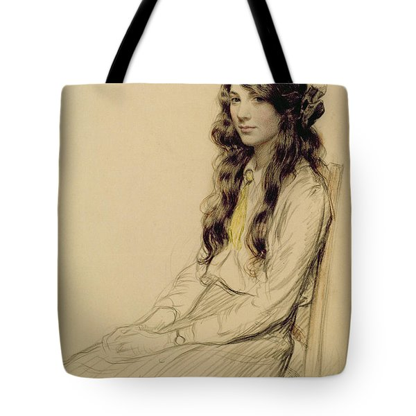 Portrait Of A Young Girl Tote Bag by Frederick Pegram