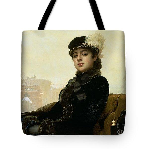 Portrait Of An Unknown Woman Tote Bag by Ivan Nikolaevich Kramskoy